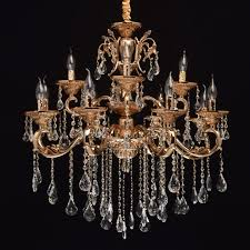 classic baroque style 12 arm pendant chandelier in gold with crystal décor save