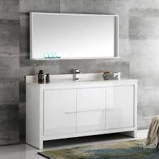 modern single sink bathroom vanities. Fresca Allier White 60-inch Modern Single-sink Bathroom Vanity With Mirror Single Sink Vanities