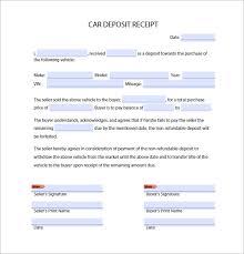 Deposit Receipt Sample Car Deposit Receipt Template Pdf 21 Deposit Receipt Templates Doc