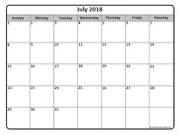 July2018 Calendars July 2018 Monthly Calendar Printable Printable