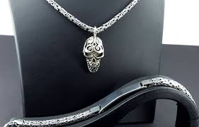 925 italian sterling silver chain with skull pendant and italian bracelet with name plate chain