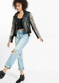 express minus the leather cheetah sleeve moto jacket