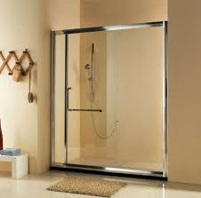 bathroom small frameless sliding glass shower doors with gree mosaic ceramic wall and round modern