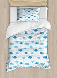 fish duvet cover set fish net with polka dots abstract animal silhouettes nature inspired image decorative bedding set with pillow shams blue pale blue