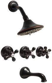 Oil Rubbed Bronze 3 Handles Combination Bathroom Tub Shower Bronze 3 Handle Tub Shower Faucet