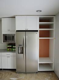 81 most startling smart white painted wood kitchen cabinet with built in fridge the middle custom shelves and inserted microwave storage design sub zero