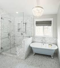 traditional bathroom lighting ideas white free standin. Traditional Bathroom Tile Ideas With Gray Window Shade Floor Lighting White Free Standin