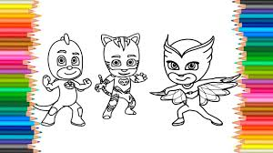 Pj Masks Coloring Pages L Fun Coloring Book Markers Videos For