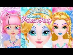 be the princess of the party with this cute app for kids makeup salon princess party you get to do her makeup hair and choose a decoration for her hair
