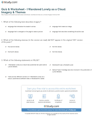 quiz worksheet i wandered lonely as a cloud imagery themes print i wandered lonely as a cloud imagery themes worksheet