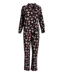 Pillow Talk Black Pink Owl Pajama Set Women