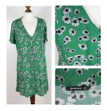 Stradivarius Shirt Dress Size L Green Floral Mini