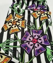 Details About Lularoe Leggings Tc Disney Jack Skellington Flower Black White Stripe Purple