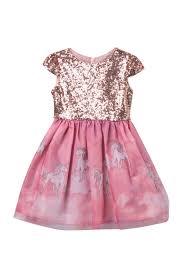 Blush By Us Angels Unicorn Sequin Dress Toddler Little Girls Nordstrom Rack