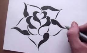 Small Picture Drawing a Rose in a Simple Stencil Design Style YouTube