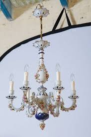 exceptional quality italian capo di monte porcelain chandelier fully decorated with hand painted flowers
