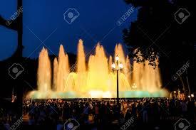 Light Show Fountain Barcelona Magic Fountain Montjuic Light Show At Night In Barcelona Spain
