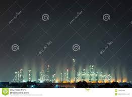 Ocean Night Light Night Light At The Factory Near The Ocean Oil Refinery