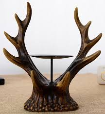 Horn Decorative Accessories Antique Antlers Sculpture Candle Stand Decorative Polyresin Elk 40