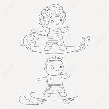 サーフボードやスケート ボードの子供のイラストかわいい子供を設定しますページを着色