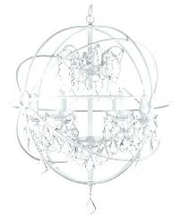 chandeliers white orb chandelier wrought iron crystal silver fixture pendant s t