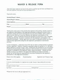 Liability Waiver Form Template Free Liability Form Template Free Awesome Template Release