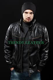 young men s black fashionable stylish real leather jacket