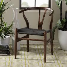 baxton studio wishbone mid century 2 piece dark brown and black wood chair set