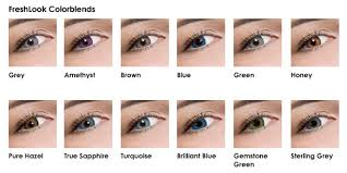 Contact Lenses Colour Chart Freshlook Colored Lenses Color Examples