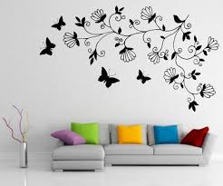... Decorative Wall Painting Designs Abstract Dark Tree Butterfly Wall  Stickers Decals Art For Small Modern Living ...