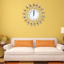 Living Room Art Decor Luxury Diamond Home Large Peacock Wall Mounted Metal Clock Living