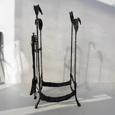 saatchi art hand forged fireplace tools rustic style wrought iron and handcrafted fireplace set tools sculpture by roman hoferik