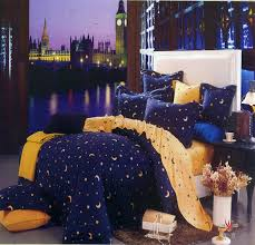 deep blue and yellow moon star duvet cover bedding
