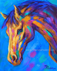abstract horses horse painting in bright colors by theresa