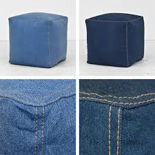 put your feet up and get ready to relax with our fashionable denim cube footstool
