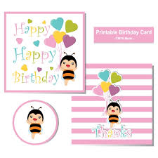 birthday postcard template birthday card with cute bee and colorful heart balloons suitable for