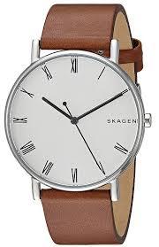 men s skagen signatur light brown leather strap watch skw6427 loading zoom