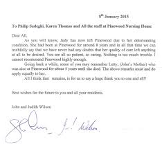 Nursing Thank You Letter Sample Tesimonials Pinewood Residential Care Nursing Home 7