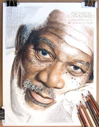 Drawingcolor My 50 Hour High Detail Drawing Of Morgan Freeman In Color Pencils