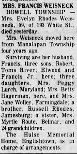 Obituary of Mrs. Francis Weisneck, nee Evelyn Rhodes - Newspapers.com