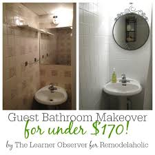 Cheap Bathroom Makeover Inspiration Remodelaholic A 48 Bathroom Makeover With Painted Tile