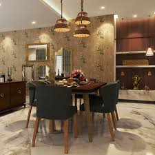 a luxurious dining room with a pooja unit beside it charming pendant lights gany dining top