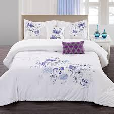 home fashions international white fl spray comforter set