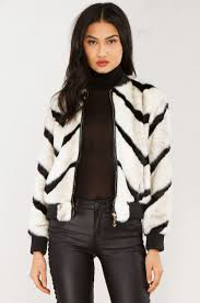 front view faux fur jacket in white black