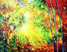bahadur singh oil painting title colours of autumn replica on canvas artist bahadur singh