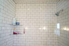 bathroom subway tile half shower glass