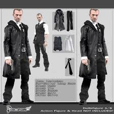 1 6 scale male black leather coat suit shoes clothing set for 12 hot toys