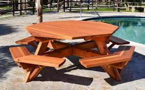 octagonal picnic table options 6 diameter tabletop attached benches redwood
