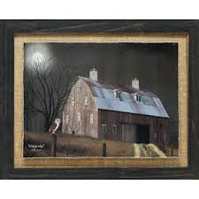 midnight moon primitive country farm landscape by billy jacobs framed photographic print on primitive framed wall art with primitive country wall art wayfair