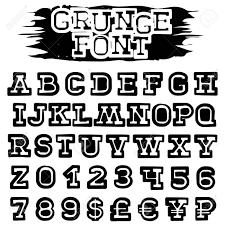 抽象的なベクトル黒グランジ フォントです英語の文字と番号とあなたのデザインの通貨記号